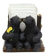 Ebros Romantic Valentines Heart Kissing Black Bears Seated By Tree Logs ... - $24.99