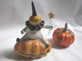 Small Pumpkin Head Black abd White Clown Figure   Halloween on Jack-o-La... - $9.85