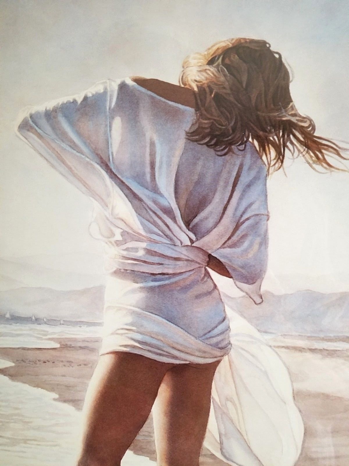 Vintage 1988 Steve Hanks Print Poster OFFSHORE BREEZE Hand Signed RISQUE Beach