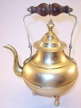 Vintage Small Brass Footed Teapot Kettle with Wooden Handle - $12.99