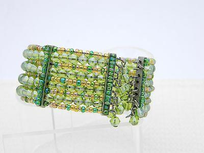 VTG Multi-Colored Green Glass Bead Beaded Cuff Bracelet image 3