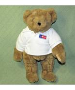 "15"" Vermont Teddy Bear TAN Jointed Plush Animal White Polo Shirt I HEART... - $23.36"