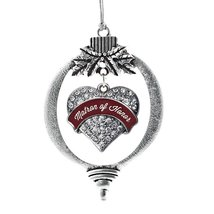 Inspired Silver Burgundy Mom of the Bride Pave Heart Holiday Decoration Christma - $14.69