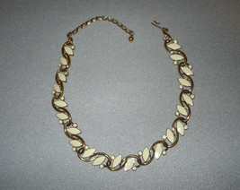 "TRIFARI Enamel Goldtone Necklace 17""  Creamy White Signed - $74.95"