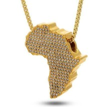 Africa Necklace New Pave Map Pendant With 36 Inch Long Franco Style Chain - $4.89