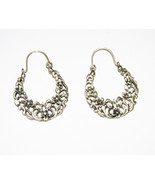Sterling Silver Hoop Earrings Cutout Floral Pat... - $25.00
