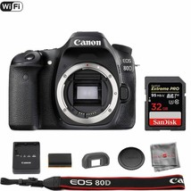 Canon EOS 80D DSLR Camera (Body) with SanDisk 32GB ExtremePro Memory Card - $798.77