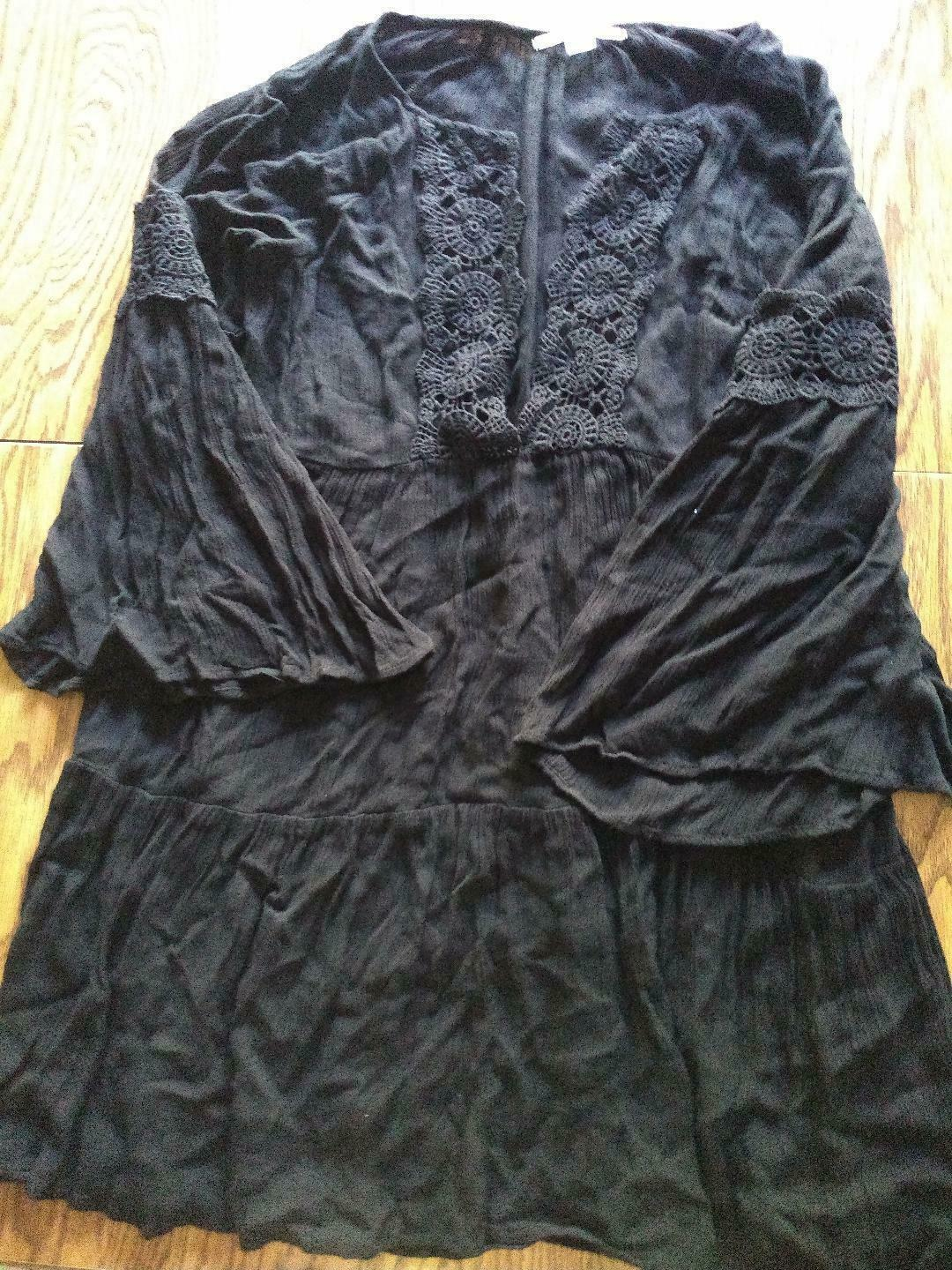 O'Neill Saltwater Solids Bell Sleeved Black Beach Cover Up Size Large
