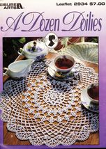 A Dozen 12 Dainty White Spruce Green Iris Blue Doily Crochet Patterns - $14.99