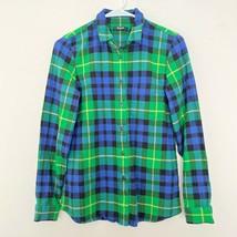 Madewell M Medium Plaid Button Up Long Sleeve Collared Shirt Blue Green - $23.03