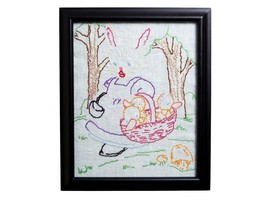 FREE SHIP: Vintage Framed Embroidered Children's Fabric Wall Hanging - $32.73
