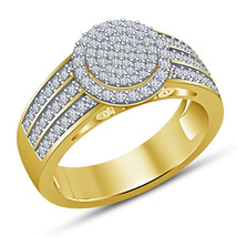 New Engagement Ring Round White Simulated Diamond Yellow Gold Finish 925... - $77.99