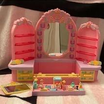 Bluebird Vintage Polly Pocket 1990 Pyjama Party Dressing Table Mirror Dolls Pets - $189.99