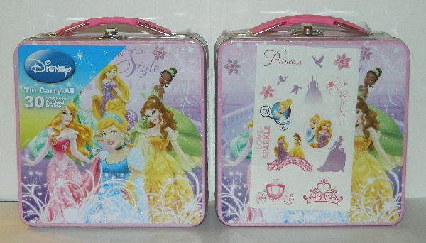 Walt Disney Princesses Carry All Sticker Tin Tote Lunchbox, NEW SEALED