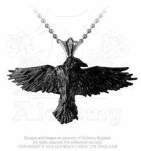 Black Raven Pendant Necklace, Alchemy Gothic - $27.00