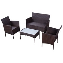 4 pcs Outdoor Patio Rattan Wicker Cushioned Sofa Table - $237.44