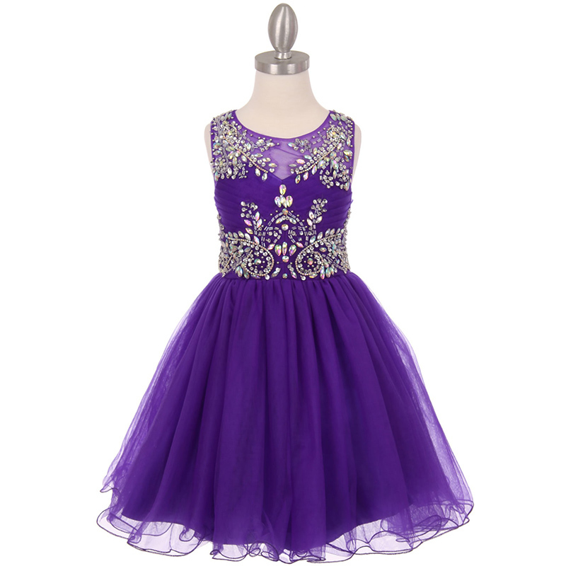 Purple Unique Design AB Stone Bodice Open Back Tulle Wired Skirt Girl Dress