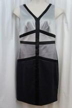 Sangria Dress Sz 12 Silver Black Blocked Satin Sheath Cocktail Evening Party - $59.35