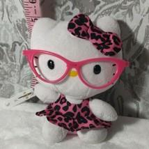 "Hello Kitty Ty Plush 6"" Pink Glasses Print Pink Dress - $10.89"