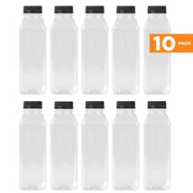 16 Oz Clear Plastic Juice/Dressing PET Square Container Bottles w/ Black... - $20.01