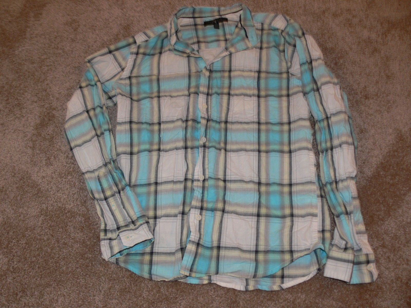 Primary image for AEROPOSTALE Plaid Button Front Shirt Long Sleeve Women's Size Small ek