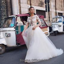 New Elegant Lace on Nude Illusion A-line Fashion Wedding Dress image 5