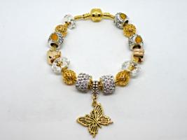 Gold Tone Butterfly European Murano Beaded Bracelet. Gift bag included - $19.95