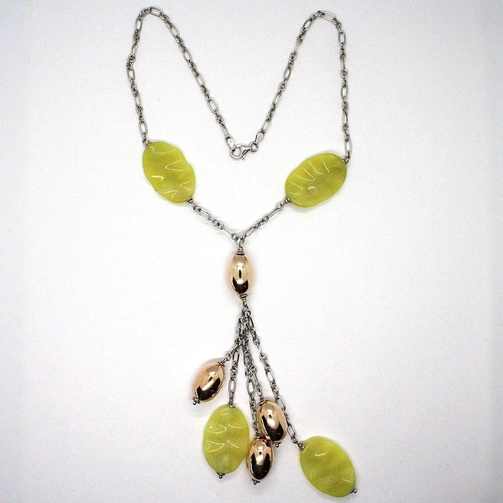 Silver 925 Necklace, Ovals Pink, Jasper Green Wavy, Pendant Bunch