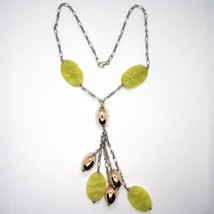 Silver 925 Necklace, Ovals Pink, Jasper Green Wavy, Pendant Bunch image 1