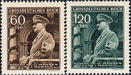1944 Hitler Birthday Set of 2 Bohemia Moravia Stamps Catalog Number B25-26 MNH