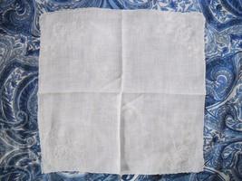 VINTAGE SOFT WHITE COTTON OR LINEN EMBROIDERED LADIES HANDKERCHIEF CIRCA... - $5.00
