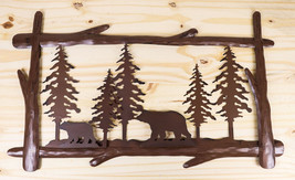 "23""L Rustic Forest Black Bear And Cub By Pine Trees Metal Wall Art Sign ... - $39.99"
