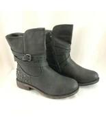 Kadi Maya Womens Combat Boots Strappy Studded Faux Leather Black Zipper 8.5 - $38.69