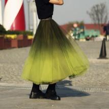 OLIVE GREEN Full Tulle Skirt Green Tie Dye Long Tulle Skirt High Waisted A Line  image 3
