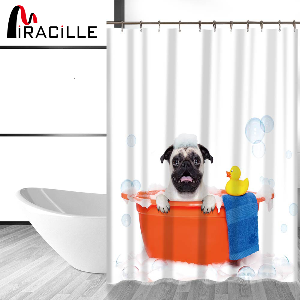 Miracille Cute Dog and Cat Printing Bathroom Decorative Shower Curtain Waterproo image 5