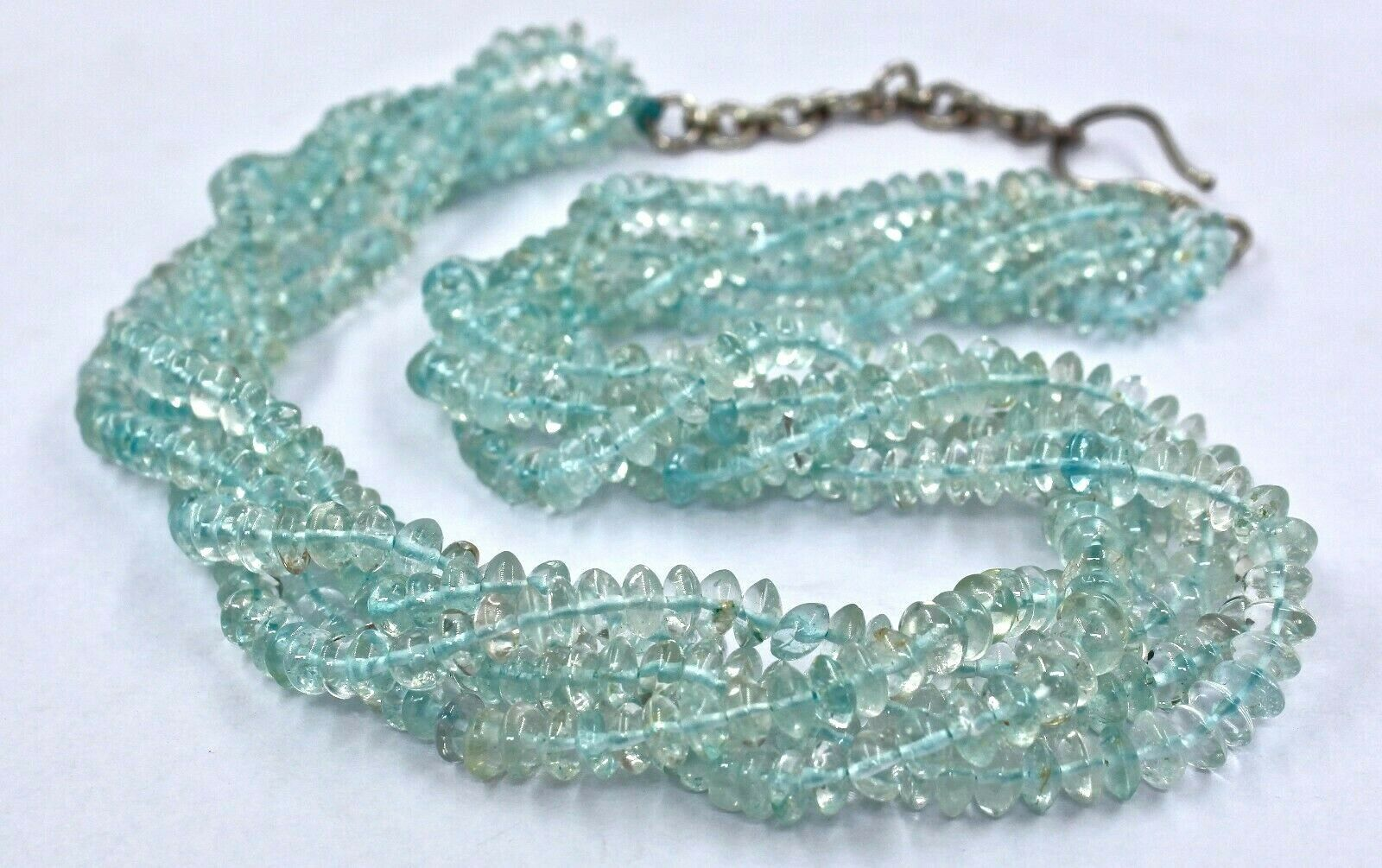 CLASSIC BLUE TOPAZ ROUND BUTTON BEADS 3 LINE 568 CARATS GEMSTONE SILVER NECKLACE