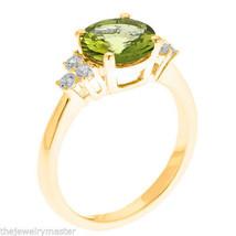 PERIDOT & DIAMOND ENGAGEMENT RING 8mm ROUND CUT YELLOW GOLD 2.21 CARATS - £691.98 GBP