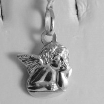18K WHITE GOLD PENDANT, MINI GUARDIAN ANGEL, ENGRAVING, MADE IN ITALY image 1