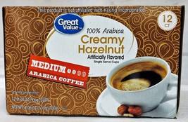 Great Value Creamy Hazelnut Medium Roast Coffee K Cup Cups 12 pods 4.06 oz - $7.51