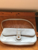 Gently Used Small Light Blue Faux Leather Tommy Hilfiger Hand Bag Purse w Snap - $13.99