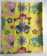 VTG Pippi Longstocking Quilt Craft Fabric 55 X 44 Yellow Flowers Hard To... - $39.59