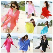 Women Solid Color Swimwear Beachwear Bikini Beach Wear Cover Up Kaftan S... - $5.99