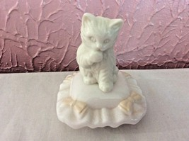 Avon Milk Glass Perfume Bottle Cat Pillow Sitting Pretty Charisma Perfum... - $13.50