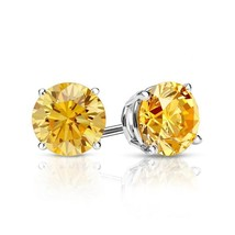 2 Ct Round Yellow Canary Earrings Studs Solid 14K White Gold Screw Back ... - $122.69