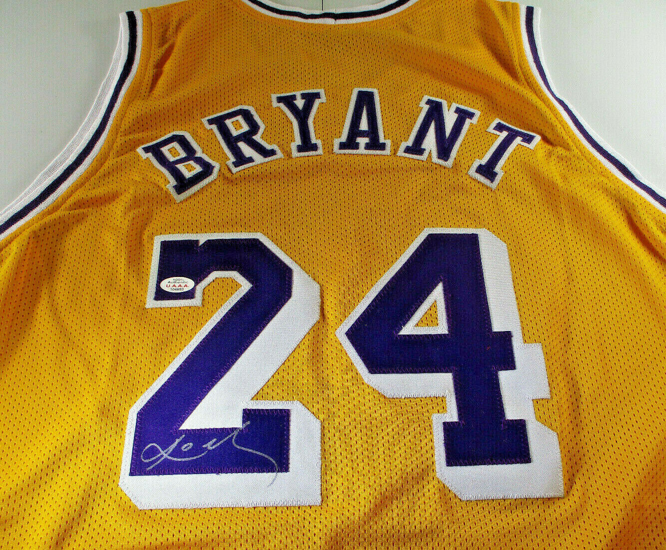 KOBE BRYANT / LOS ANGELES LAKERS / AUTOGRAPHED LAKERS YELLOW CUSTOM JERSEY / COA