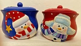 Funky Snowmen Christmas Candle Holders Jars Tea Lites Red Blue Boxed Set... - $19.75