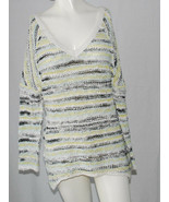 Free People Long Tunic Sweater Ladies Small S Multi Stripes 3/4 Sleeves ... - $14.80