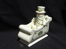 """Lenox Ivory """"Happy Holly Days"""" American by Design Snowman in Sleigh Cand... - $19.99"""