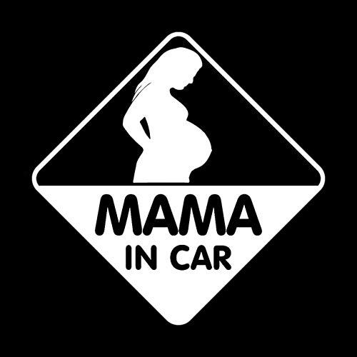 DECAL-STYLE - 14CMx14CM MAMA IN CAR PREGNANT ON BOARD STICKER DECAL BABY CHILD C
