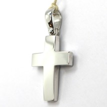 SOLID 18K WHITE GOLD SQUARE CROSS, 0.9 INCHES, ITALY MADE, SMOOTH image 2
